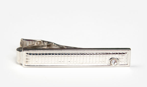 "1.75"" Silver Hashed Tie Bar with Lower Right Gem"