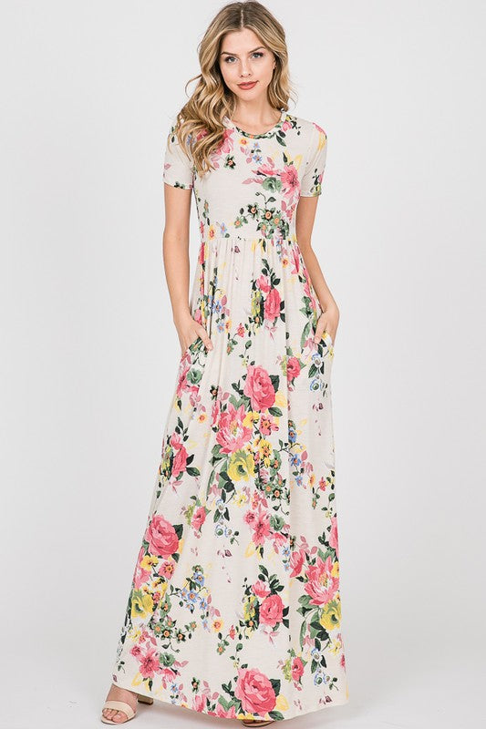Beautifully You | La Femme Floral Maxi Dress