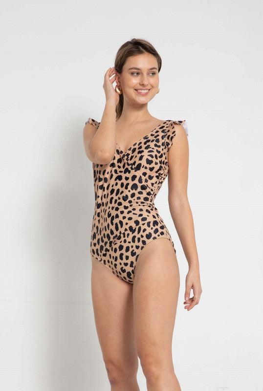 Beautifully  You | Ruffle Play Leopard Swimsuit