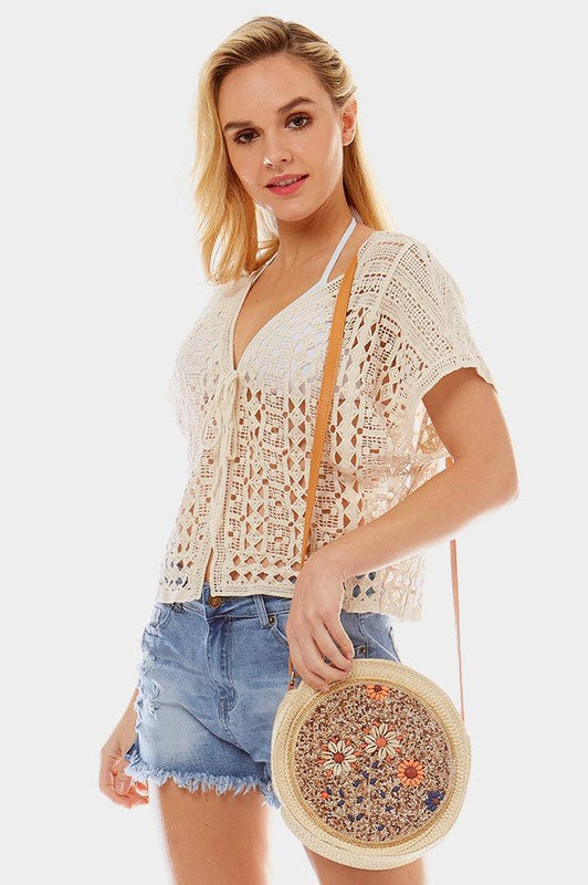 Beautifully You | Flower Bead Straw Crossbody Bag