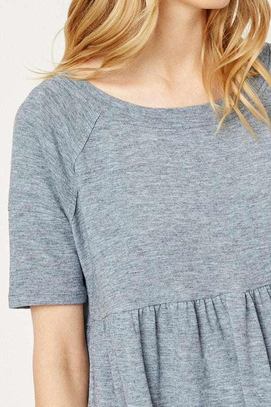 Beautifully You | Heather Babydoll Knit Tee