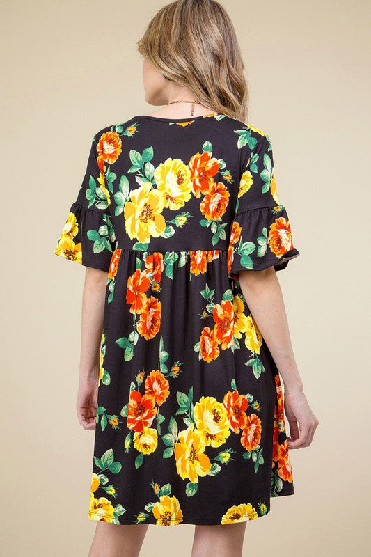 Beautifully You | Floral Flounce Ruffle Dress