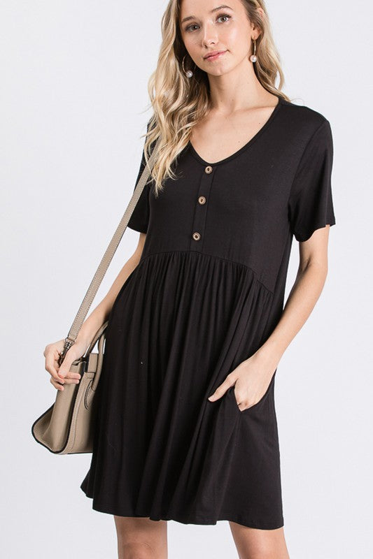 Beautifully You | Button Down Babydoll Dress