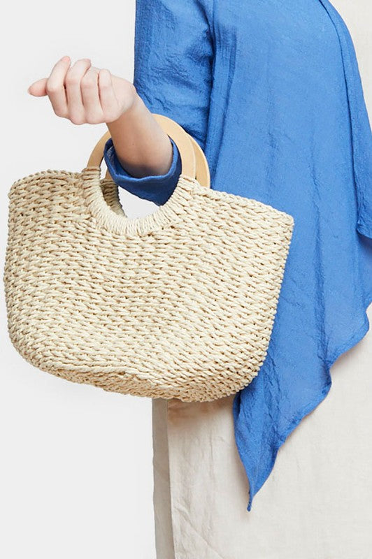 Beautifully You | Half Moon Straw Tote