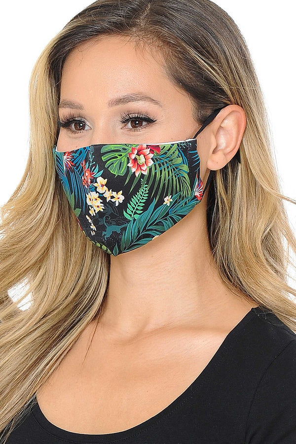 Tropical Floral Print Face Mask