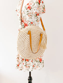 Beautifully You | Round Straw Bag