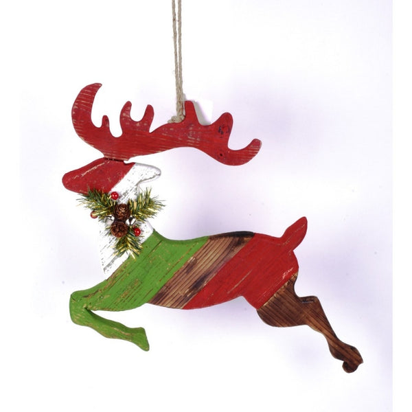 "15.5"" x 18"" flying stripe reindeer ornament"