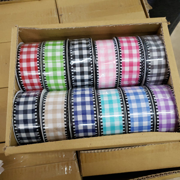"1.5"" gingham ribbon box"