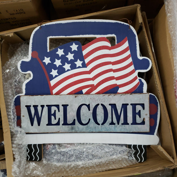 "12"" wooden flag on truck welcome"