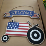 "12"" wooden flag on tractor"