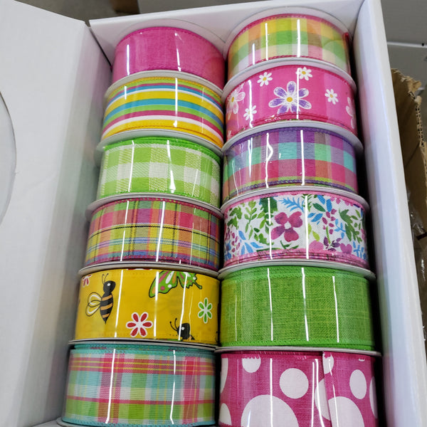 "1.5"" x 10 yds springtime ribbon box"