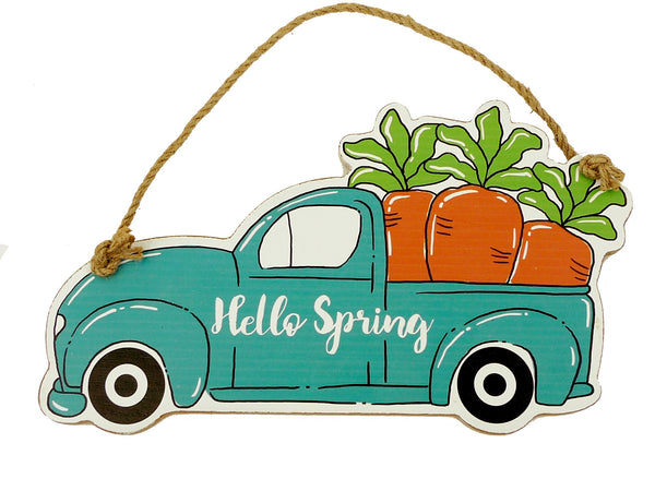 "12"" wooden pickup truck with carrots happy spring sign"
