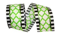 "TRELLIS BLACK/WHITE WIRED EDGE GREEN 2 1/2"" x 10 yards"