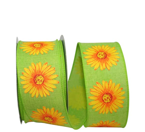 "GERBERA DAISY LINEN WIRED EDGE 2 1/2"" X 10 YARDS"
