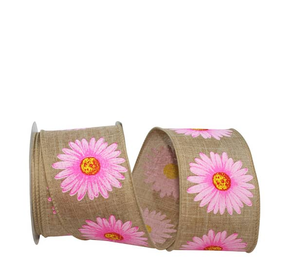 GERBERA DAISY LINEN WIRED EDGE
