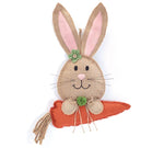 HANGING BURLAP BUNNY HEAD WITH CARROT