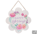 HAPPY SPRING FLORAL WREATH WALL HANGING