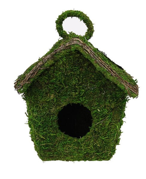 "7.5""H Moss/Twigs Birdhouse W/Hook"