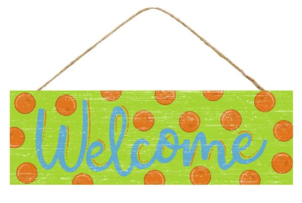 "15""L X 5""H Welcome W/Dots Sign   Lime/Blue/Orange"