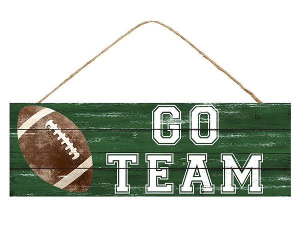 "15""L X 5""H Go Team Football Sign"