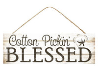 "15""L X 5""H Cotton Pickin' Blessed Sign   Cream Whitewash/Brown"