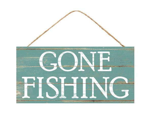 "12.5""L X 6""H Gone Fishing Sign   Blue/Tan"