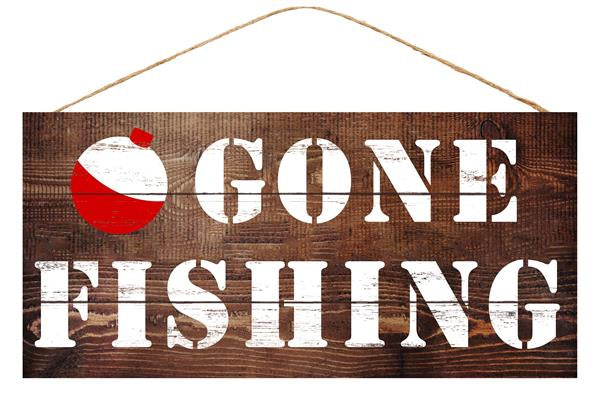 "12.5""L X 6""H MDF Gone Fishing   Brown/White/Red"