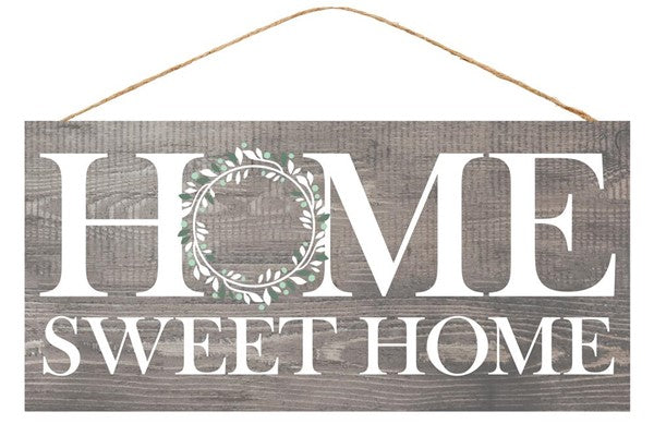"12.5""L X 6""H Home Sweet Home   Grey/White/Green"