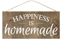 "12.5""L X 6""H Happiness Is Homemade Sign   Brown/White"