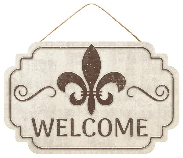 "12.5""L X 8""H Welcome/Fleur De Lis Sign"
