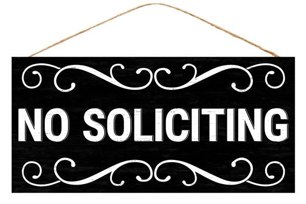 "12.5""L X 6""H No Soliciting   Black/White"
