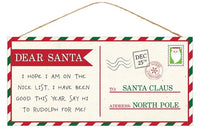 "12.5""L X 6""H Dear Santa Postcard Sign"