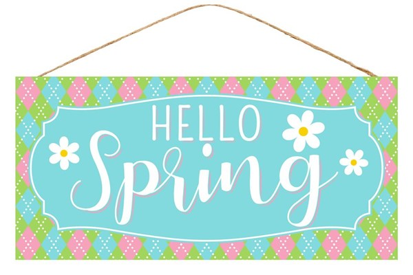 "12.5""L X 6""H Hello Spring W/Flower Sign"