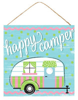 "10""Sq Mdf Happy Camper Sign"