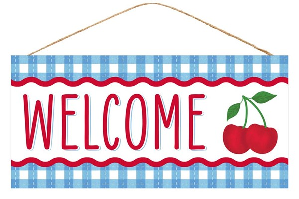 "12.5""L X 6.5""H WELCOME CHERRY SIGN"