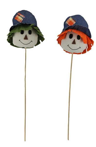"19.5""H Fabric Scarecrow Head Picks one of each color"