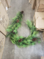 long needle mix greenery collection garland, pick, wreath. teardrop, trees