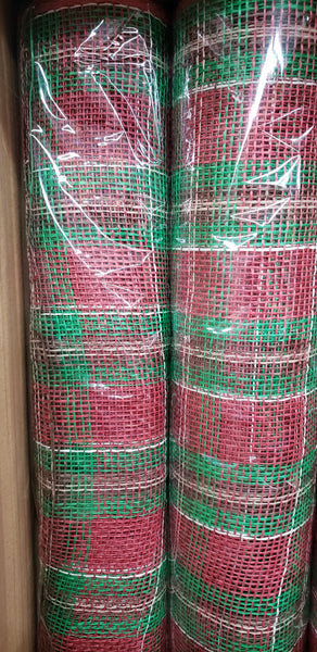 "21"" X 10Yd Plaid Poly Burlap Mesh  cranberry/emerald/chocolate/natural/cream"