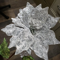 "24"" holographic velvet poinsettia stem"