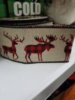 "2.5"" double sided buffalo plaid reindeer ribbon"