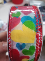 "1.5"" x 20 yd Multi color heart ribbon"