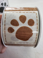 "2.5"" x 10 yds. Doggie pawprints bone ribbon"