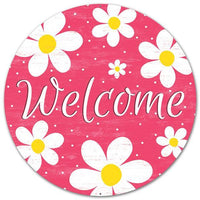 "12""Dia Metal ""Welcome"" Daisy Sign"