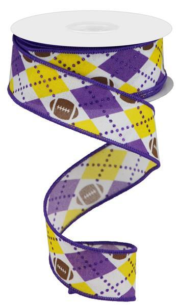"1.5""X10yd Argyle Footballs On Royal"