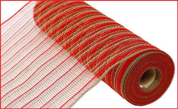 "10.5""X10yd Poly/Faux Jute Mesh red/moss green/natural"
