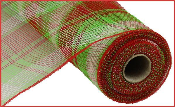 "10""W X 10Yd Plaid Mesh red/lime green/white"