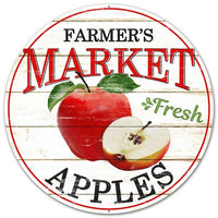 "12""DIA Farmer's Market Fresh Apples Sign   Black/Red"