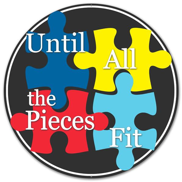 "12""DIA Metal Autism Puzzle Pieces   Blk/Wht/Blue/Red/Yellow"
