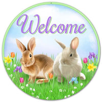 "12""DIA Metal Welcome W/Bunnies   Bl/Grn/Prpl/Brn/Tan"