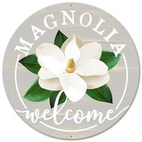 "12""Dia Metal Magnolia Welcome Sign"